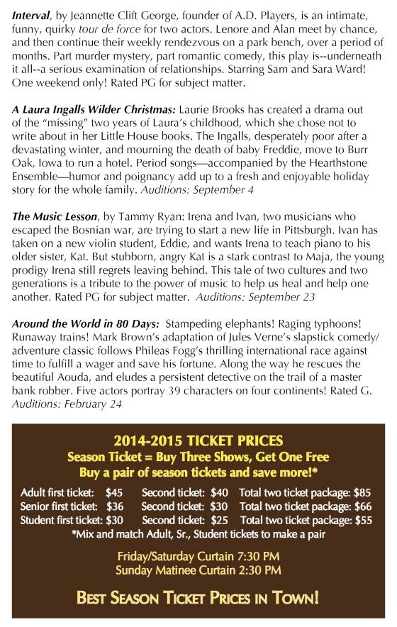 2014-2015 Season flyer