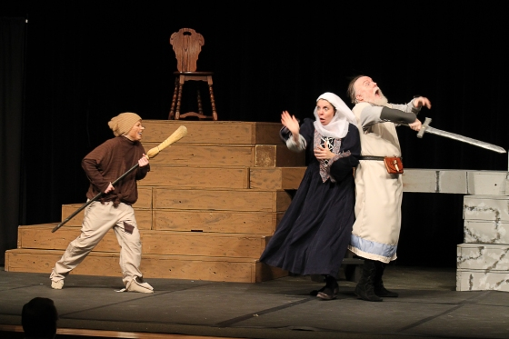 Sir Walter (Dennis Nichols) and Lootie (Erin Bean) battling with Goblin Creatures (Esther Powers)